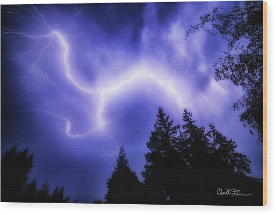 Sky Lightning Wood Print