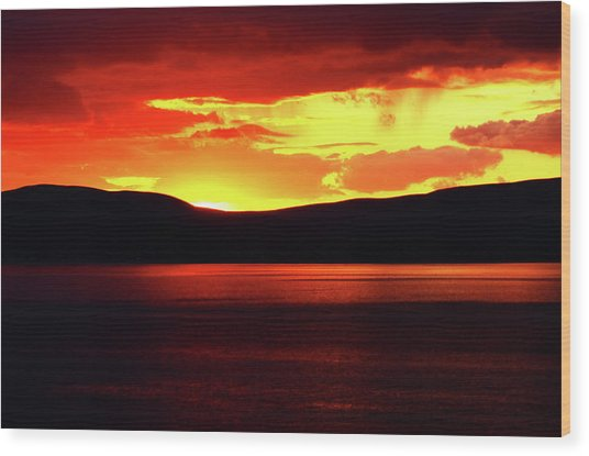 Sky Of Fire Wood Print