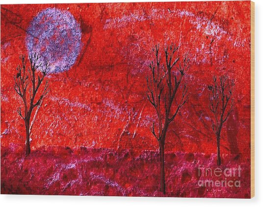 Sky Of Fire Wood Print by Mimo Krouzian