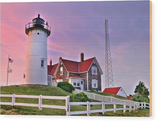 Sky Of Passion - Nobska Lighthouse Wood Print