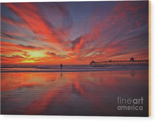 Sky On Fire At The Imperial Beach Pier Wood Print