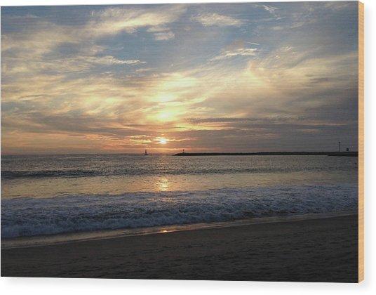 Wood Print featuring the photograph Sky Swirls Over Toes Beach by Lorraine Devon Wilke