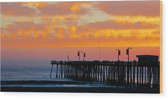 Skyfall At Pismo Beach Pier Wood Print