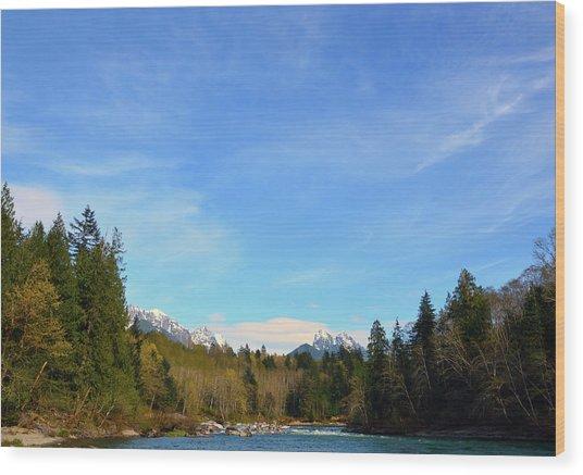 Skykomish River And Persis Wood Print
