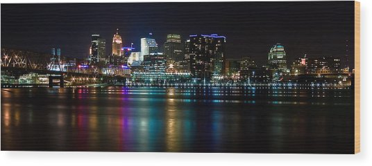 Skyline At Night Wood Print