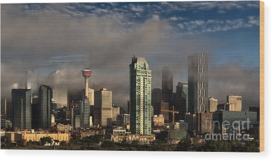 Wood Print featuring the photograph Skyline Fog by Brad Allen Fine Art