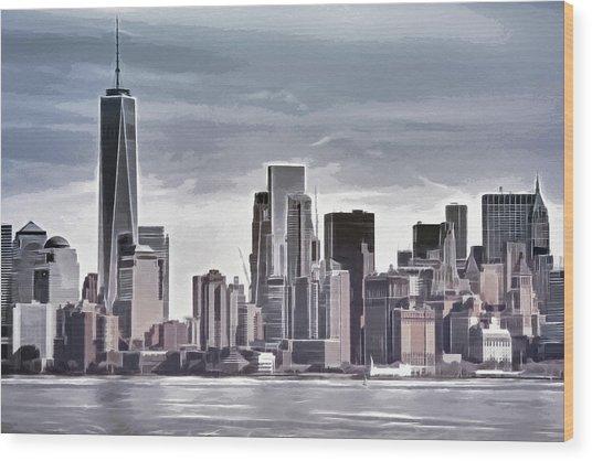 Skyline Manhattan Gray Wood Print