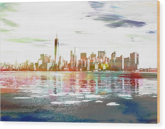 Skyline Of New York City, United States Wood Print