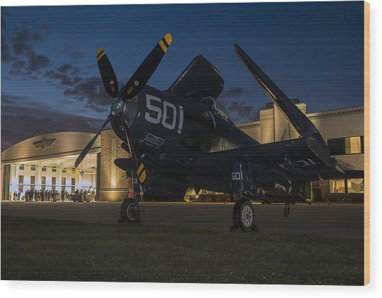 Skyraider Night Wood Print