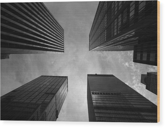 Skyscraper Intersection Wood Print
