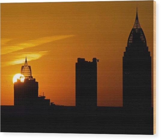 Skyscraper Sunset Wood Print
