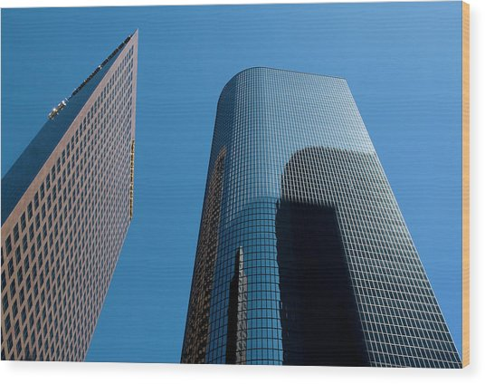 Wood Print featuring the photograph Skyscrapers Reflect Los Angeles by Lorraine Devon Wilke