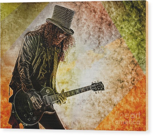 Slash - Guitarist Wood Print