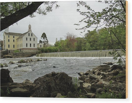 Slater Mill And Dam Wood Print