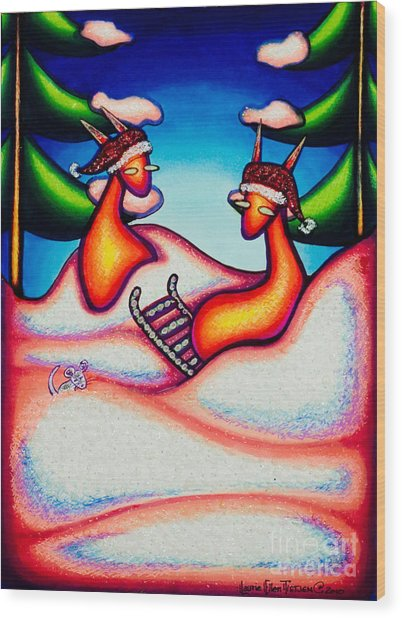Sledding Kats Wood Print