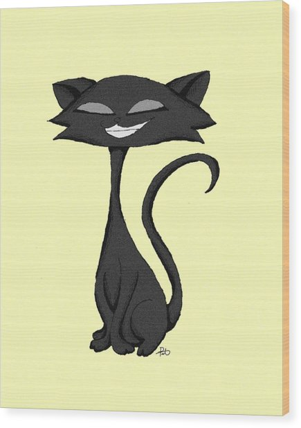 Sleek Cat Chuckling Wood Print