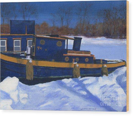 Sleeping Barge Wood Print