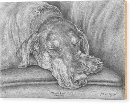 Sleeping Beauty - Doberman Pinscher Dog Art Print Wood Print