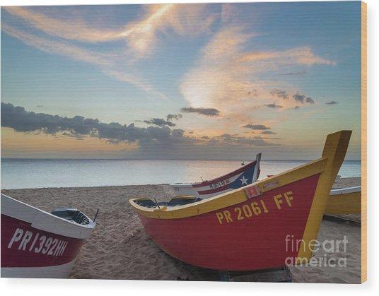 Sleeping Boats On The Beach Wood Print