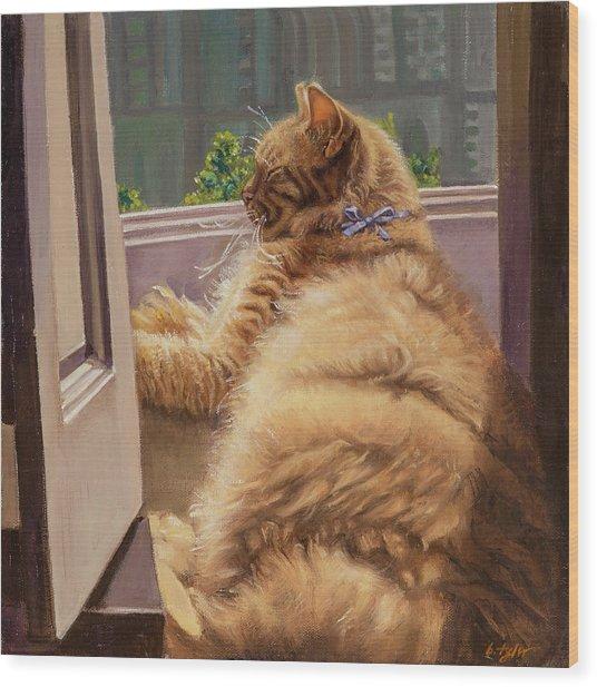 Sleeping Cat Wood Print by Barbara Tyler Ahlfield