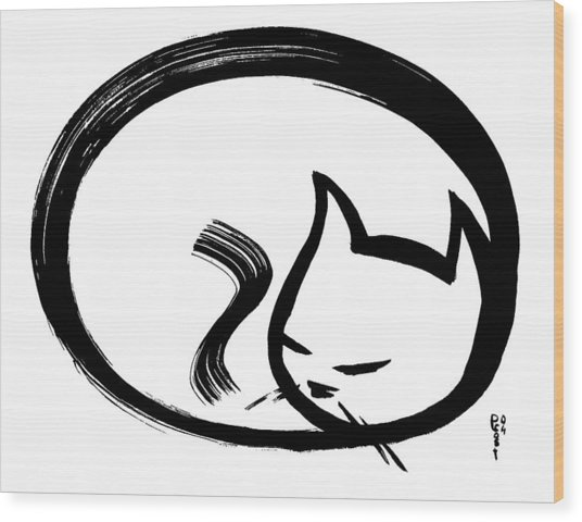 Sleeping Cat Wood Print by Poul Costinsky