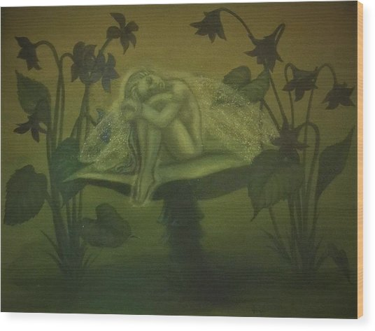Sleeping Fairy Wood Print