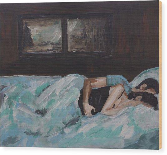 Sleeping In Wood Print