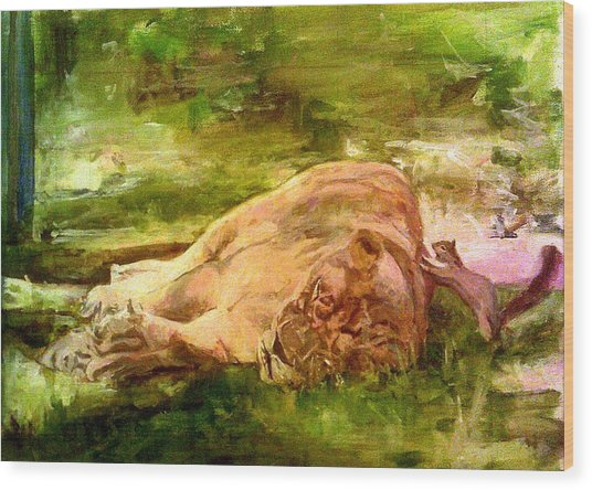 Sleeping Lionness Pushy Squirrel Wood Print