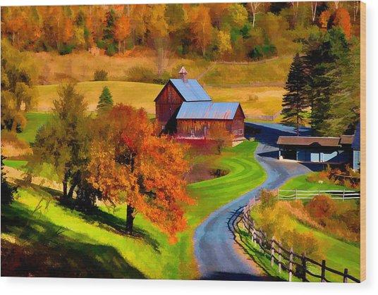 Digital Painting Of Sleepy Hollow Farm Wood Print