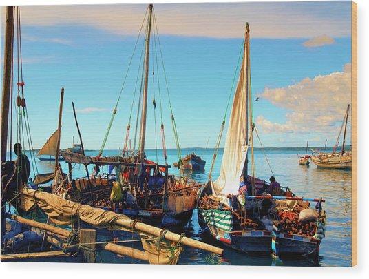Sleepy Sail Boats Zanzibar Wood Print