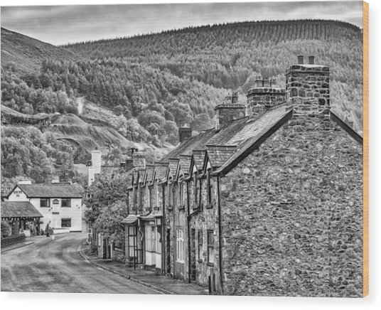 Sleepy Welsh Village Wood Print