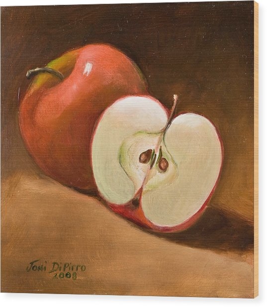 Sliced Apple Wood Print by Joni Dipirro