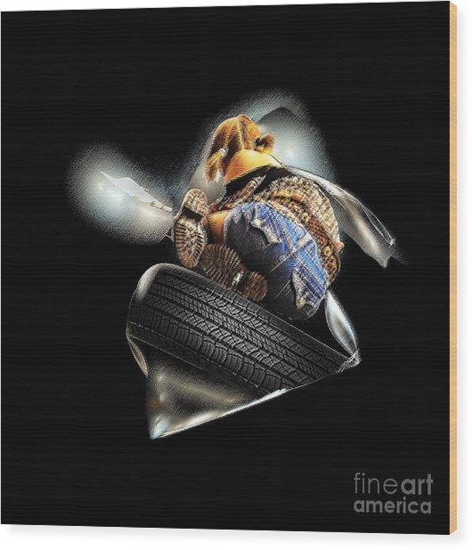 Slide Off Tire Wood Print by Viktor Savchenko