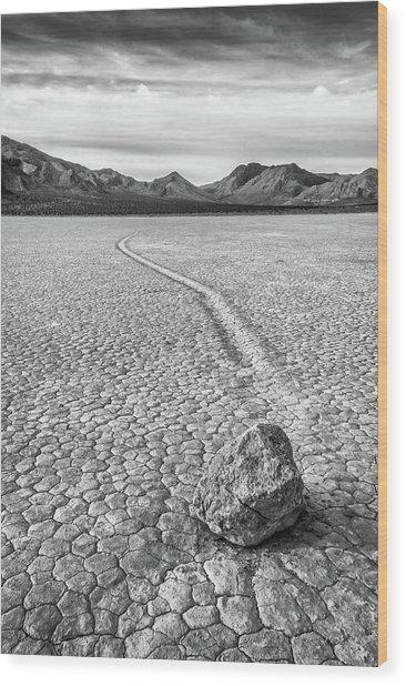 Sliding Stone, Racetrack Playa Wood Print