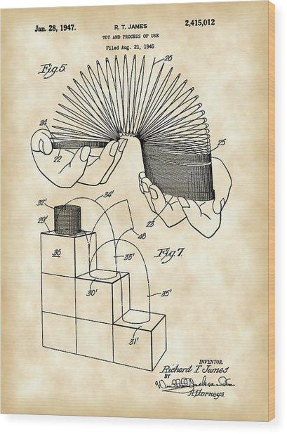 Slinky Patent 1946 - Vintage Wood Print