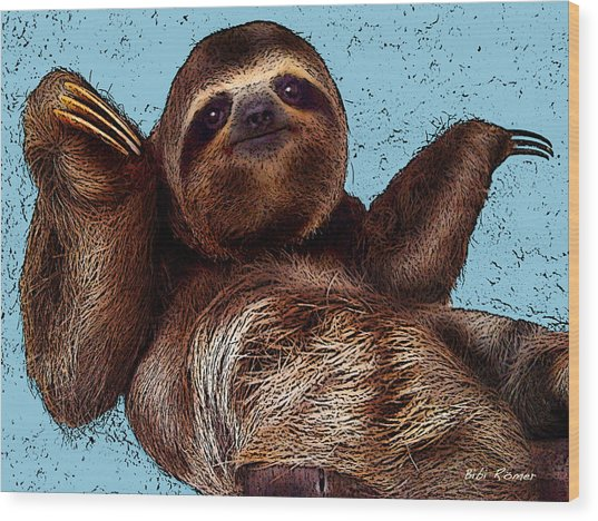 Sloth Pop Art Wood Print