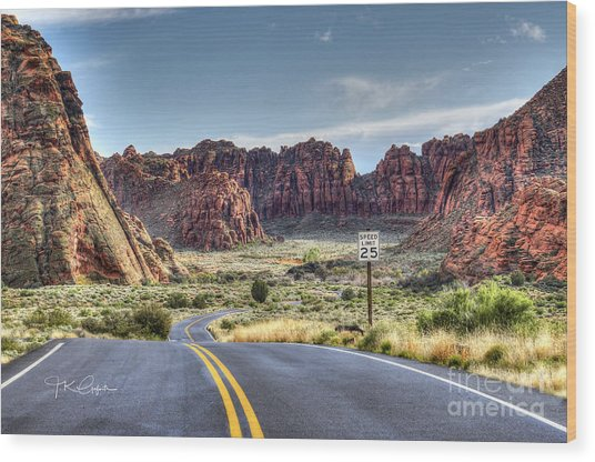 Slow Down In Snow Canyon Wood Print