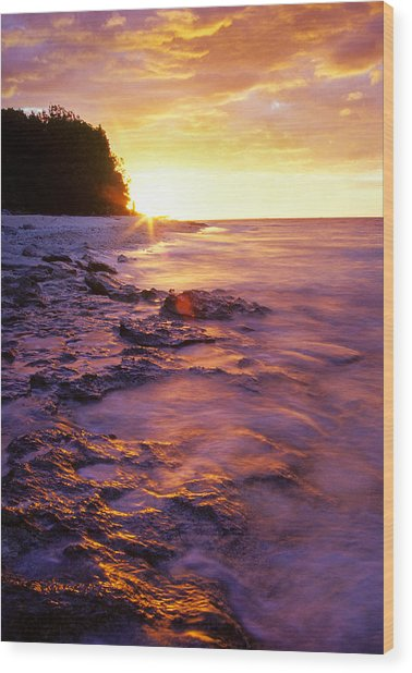 Slow Ocean Sunset Wood Print