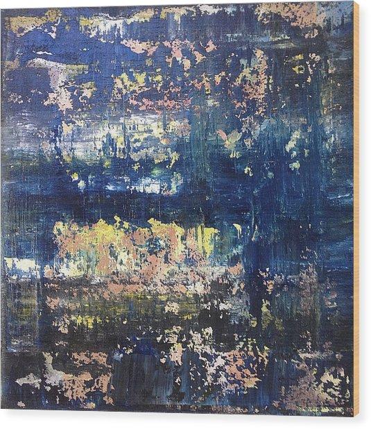 Small Blue Wood Print