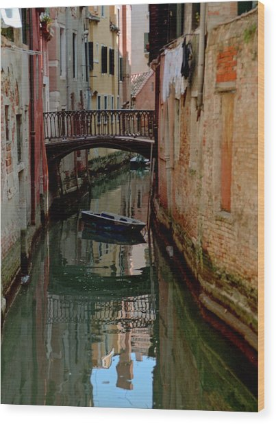 Small Boat On Canal In Venice For Vrooman Wood Print by Michael Henderson