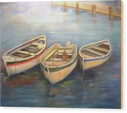 Small Boats Wood Print