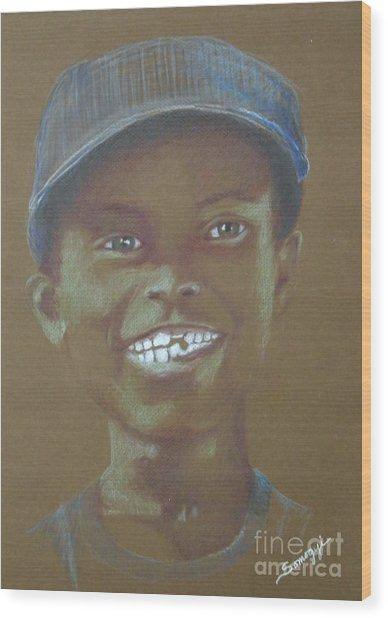 Small Boy, Big Grin -- Retro Portrait Of Black Boy Wood Print