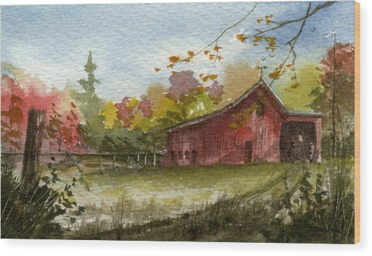 Small Fall Barn Wood Print