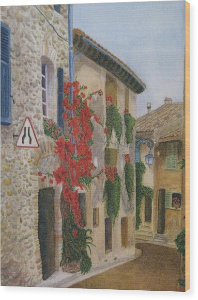 Small French Village Wood Print by Barbara Pascal