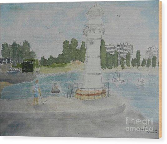 Small Lighthouse One Belmore Basin Wood Print