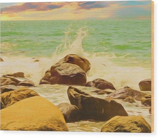 Small Ocean Waves,large Rocks. Wood Print