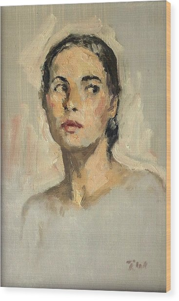 Small Oil Painting Portrait Study Young Woman Wood Print