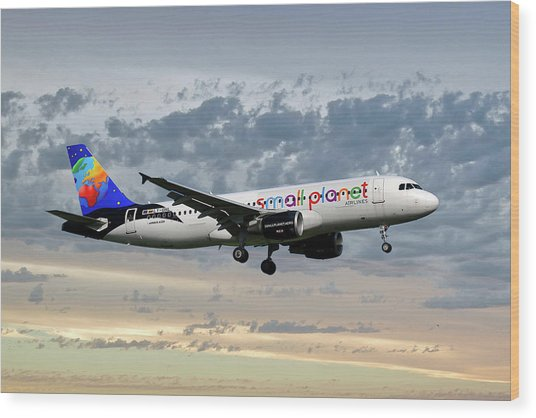 Small Planet Airlines Airbus A320-214 Wood Print