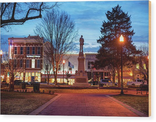 Small Town America Skyline - Downtown Bentonville Square  Wood Print