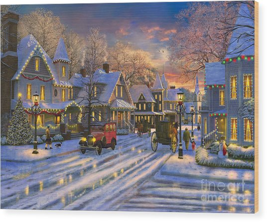 small town christmas wood print by dominic davison - Small Town Christmas